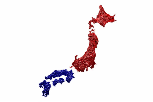 東日本と西日本の地図