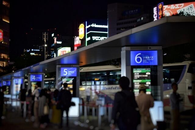 深夜バスのターミナル