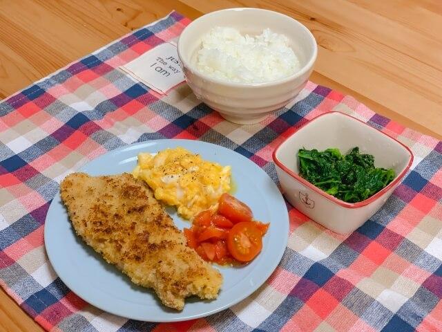 自炊した夕食