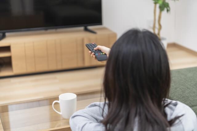 部屋で1人でテレビを観る人